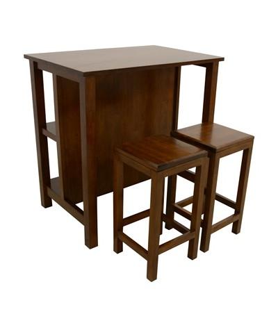 Table bar Hévéa + 2...