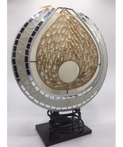 Lampe mosaïque blanc-bambou