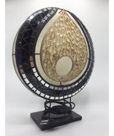 Lampe mosaïque noir-bambou