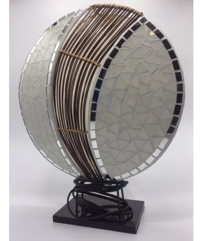 Lampe ronde mosaïque blanc