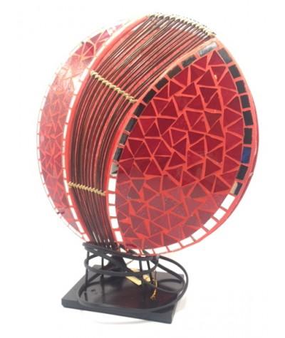 Lampe ronde mosaïque rouge