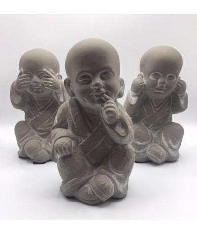 Set de 3 moines sagesse gris